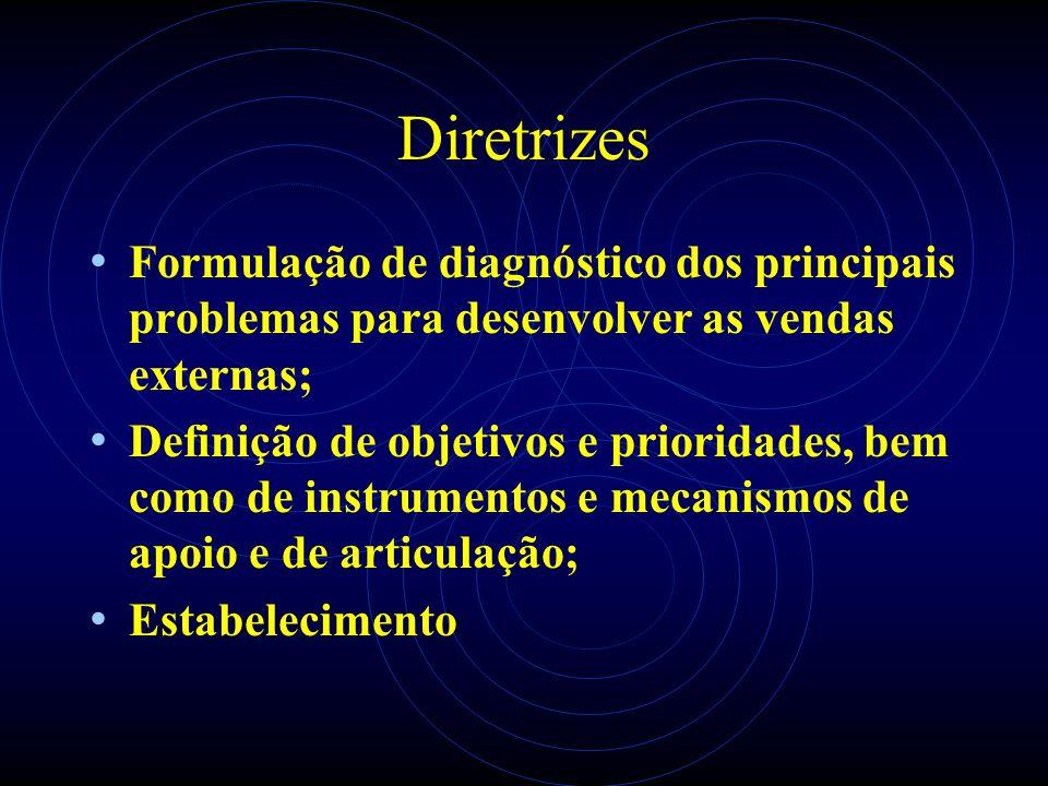 Diretrizes Formulação de diagnóstico dos principais problemas para desenvolver as vendas externas; Definição de objetivos e prioridades, bem como de i