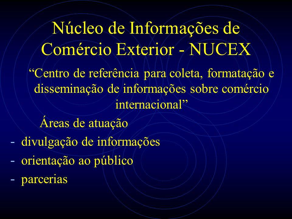 Núcleo de Informações de Comércio Exterior - NUCEX Centro de referência para coleta, formatação e disseminação de informações sobre comércio internaci