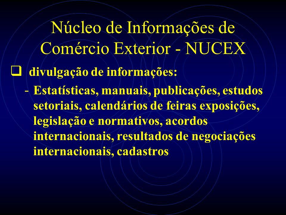 Núcleo de Informações de Comércio Exterior - NUCEX divulgação de informações: - Estatísticas, manuais, publicações, estudos setoriais, calendários de