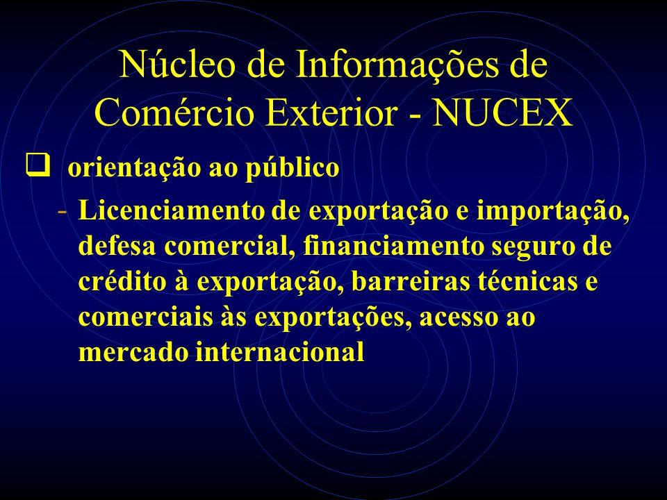Núcleo de Informações de Comércio Exterior - NUCEX orientação ao público - Licenciamento de exportação e importação, defesa comercial, financiamento s