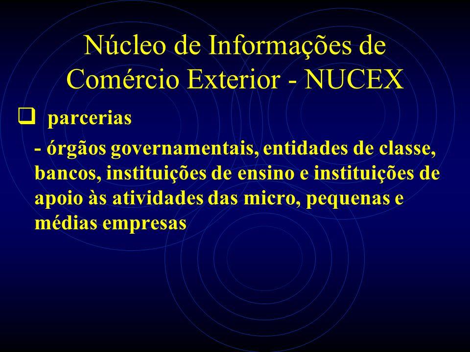 Núcleo de Informações de Comércio Exterior - NUCEX parcerias - órgãos governamentais, entidades de classe, bancos, instituições de ensino e instituiçõ
