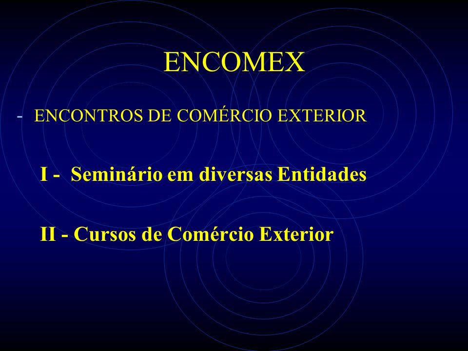 ENCOMEX - ENCONTROS DE COMÉRCIO EXTERIOR I - Seminário em diversas Entidades II - Cursos de Comércio Exterior