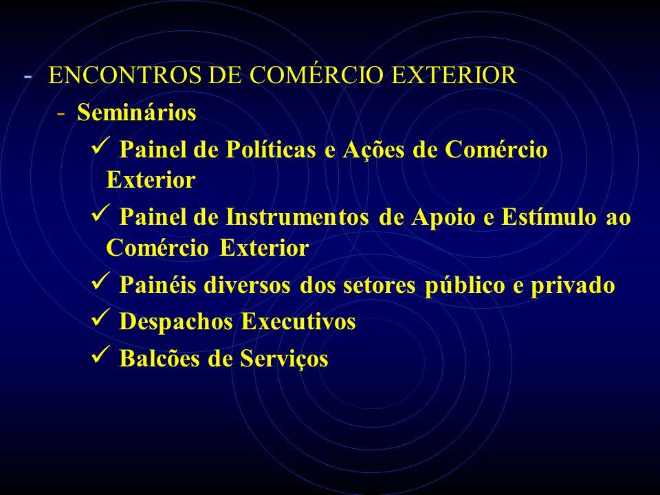 - ENCONTROS DE COMÉRCIO EXTERIOR - Seminários Painel de Políticas e Ações de Comércio Exterior Painel de Instrumentos de Apoio e Estímulo ao Comércio