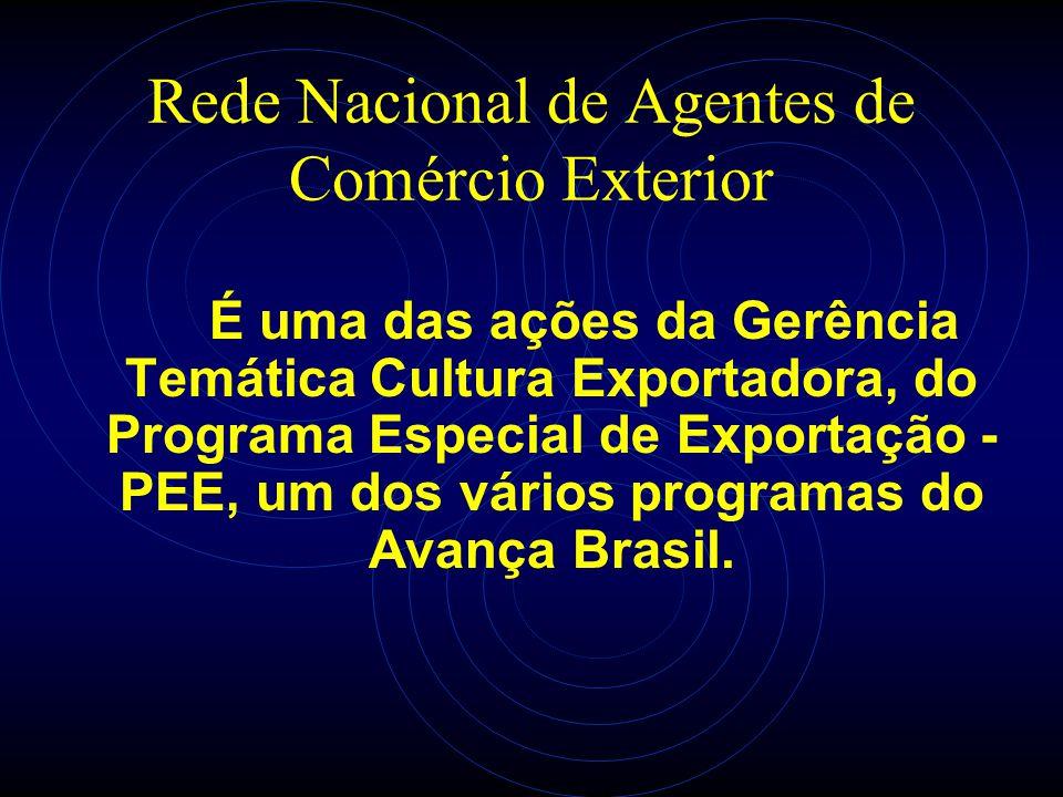 Rede Nacional de Agentes de Comércio Exterior É uma das ações da Gerência Temática Cultura Exportadora, do Programa Especial de Exportação - PEE, um d