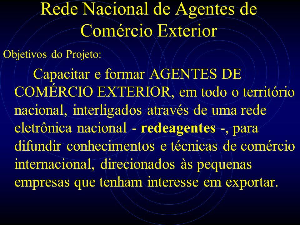 Rede Nacional de Agentes de Comércio Exterior Objetivos do Projeto: Capacitar e formar AGENTES DE COMÉRCIO EXTERIOR, em todo o território nacional, in