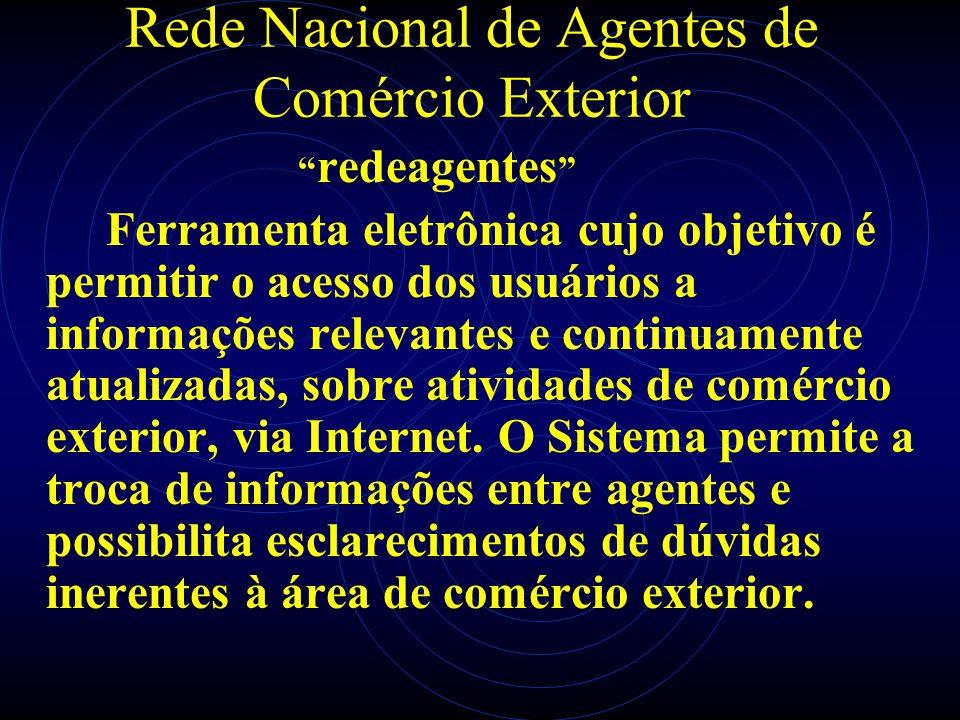 Rede Nacional de Agentes de Comércio Exterior redeagentes Ferramenta eletrônica cujo objetivo é permitir o acesso dos usuários a informações relevante