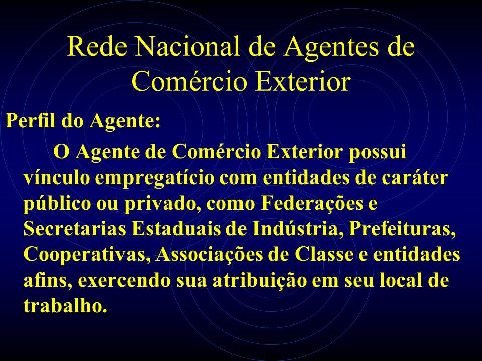 Rede Nacional de Agentes de Comércio Exterior Perfil do Agente: O Agente de Comércio Exterior possui vínculo empregatício com entidades de caráter púb