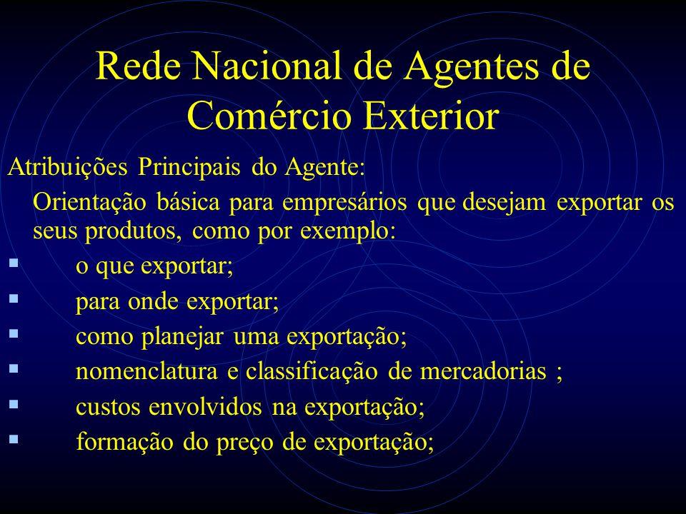 Rede Nacional de Agentes de Comércio Exterior Atribuições Principais do Agente: Orientação básica para empresários que desejam exportar os seus produt
