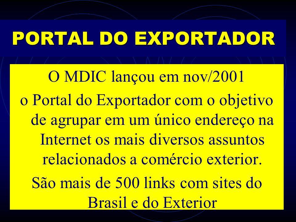 PORTAL DO EXPORTADOR O MDIC lançou em nov/2001 o Portal do Exportador com o objetivo de agrupar em um único endereço na Internet os mais diversos assu