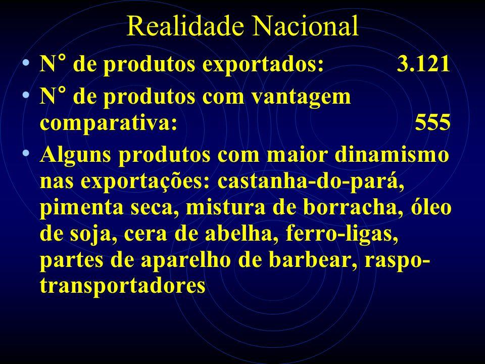 Realidade Nacional N° de produtos exportados: 3.121 N° de produtos com vantagem comparativa: 555 Alguns produtos com maior dinamismo nas exportações: