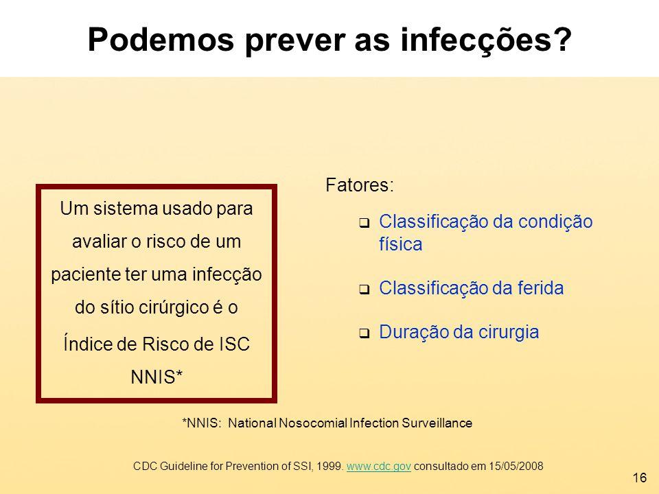 16 *NNIS: National Nosocomial Infection Surveillance Fatores: Classificação da condição física Classificação da ferida Duração da cirurgia CDC Guideli