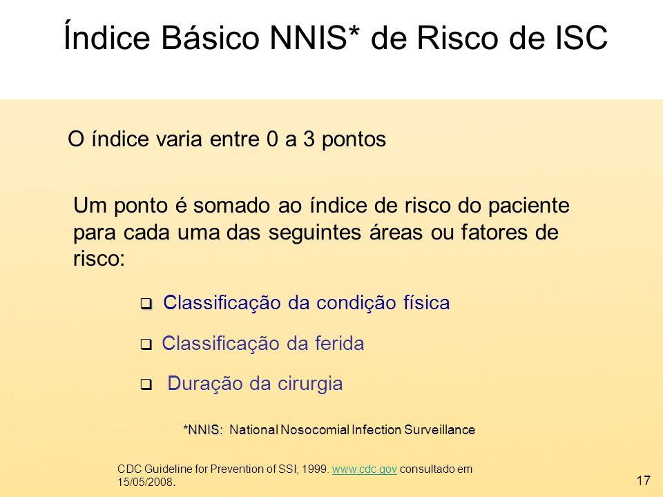 17 Índice Básico NNIS* de Risco de ISC *NNIS: *NNIS: National Nosocomial Infection Surveillance Um ponto é somado ao índice de risco do paciente para