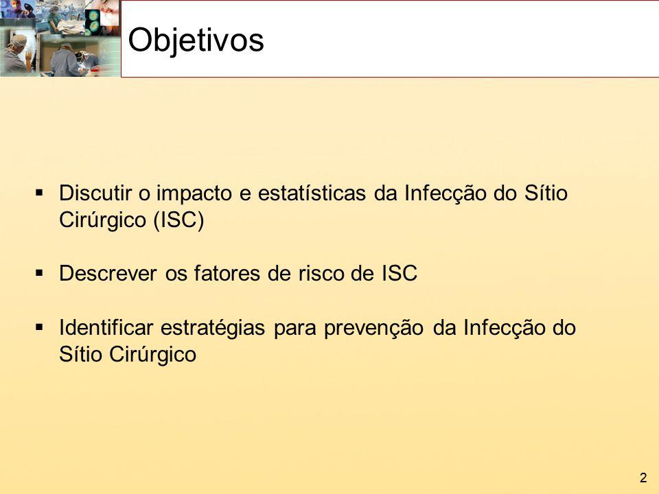 22 Objetivos Discutir o impacto e estatísticas da Infecção do Sítio Cirúrgico (ISC) Descrever os fatores de risco de ISC Identificar estratégias para