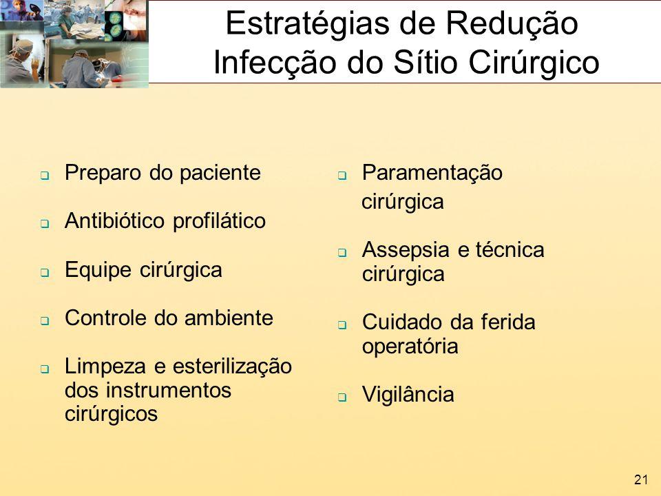 21 Estratégias de Redução Infecção do Sítio Cirúrgico Preparo do paciente Antibiótico profilático Equipe cirúrgica Controle do ambiente Limpeza e este
