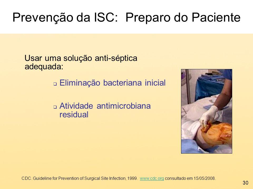 30 Prevenção da ISC: Preparo do Paciente Usar uma solução anti-séptica adequada: Eliminação bacteriana inicial Atividade antimicrobiana residual CDC.