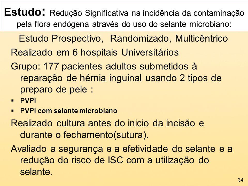Estudo : Redução Significativa na incidência da contaminação pela flora endógena através do uso do selante microbiano: Estudo Prospectivo, Randomizado