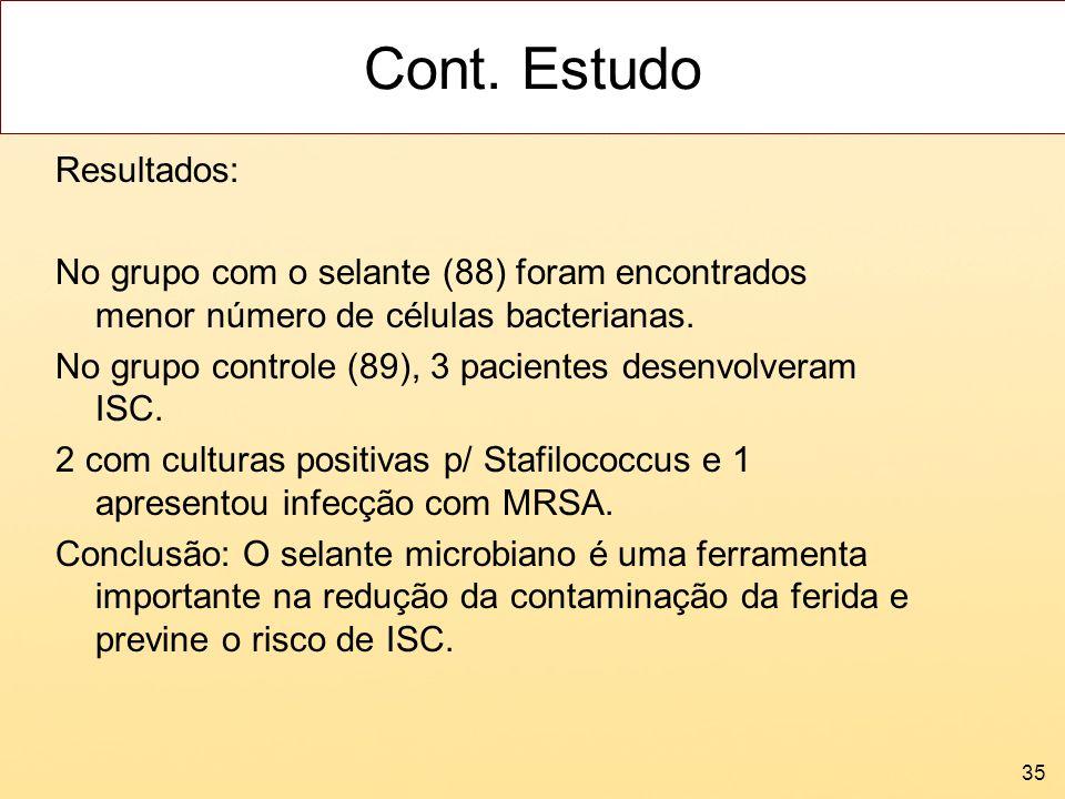 Cont. Estudo Resultados: No grupo com o selante (88) foram encontrados menor número de células bacterianas. No grupo controle (89), 3 pacientes desenv