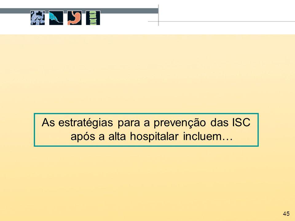 45 As estratégias para a prevenção das ISC após a alta hospitalar incluem…