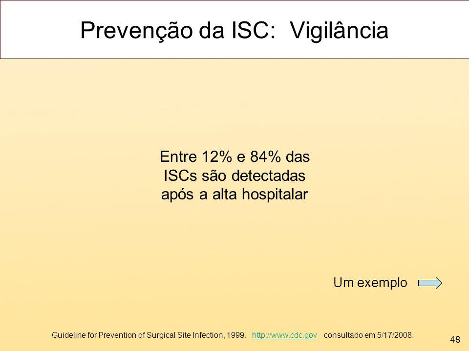 48 Prevenção da ISC: Vigilância Entre 12% e 84% das ISCs são detectadas após a alta hospitalar Guideline for Prevention of Surgical Site Infection, 19
