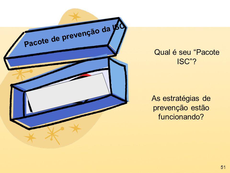 51 As estratégias de prevenção estão funcionando? Pacote de prevenção da ISC Qual é seu Pacote ISC?