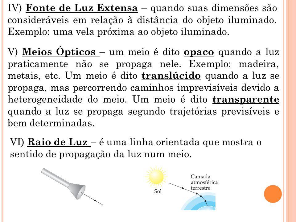 IV) Fonte de Luz Extensa – quando suas dimensões são consideráveis em relação à distância do objeto iluminado.