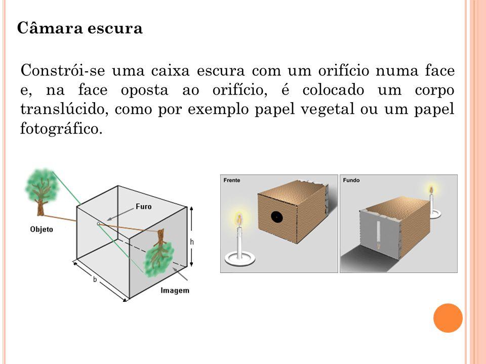 Câmara escura Constrói-se uma caixa escura com um orifício numa face e, na face oposta ao orifício, é colocado um corpo translúcido, como por exemplo papel vegetal ou um papel fotográfico.