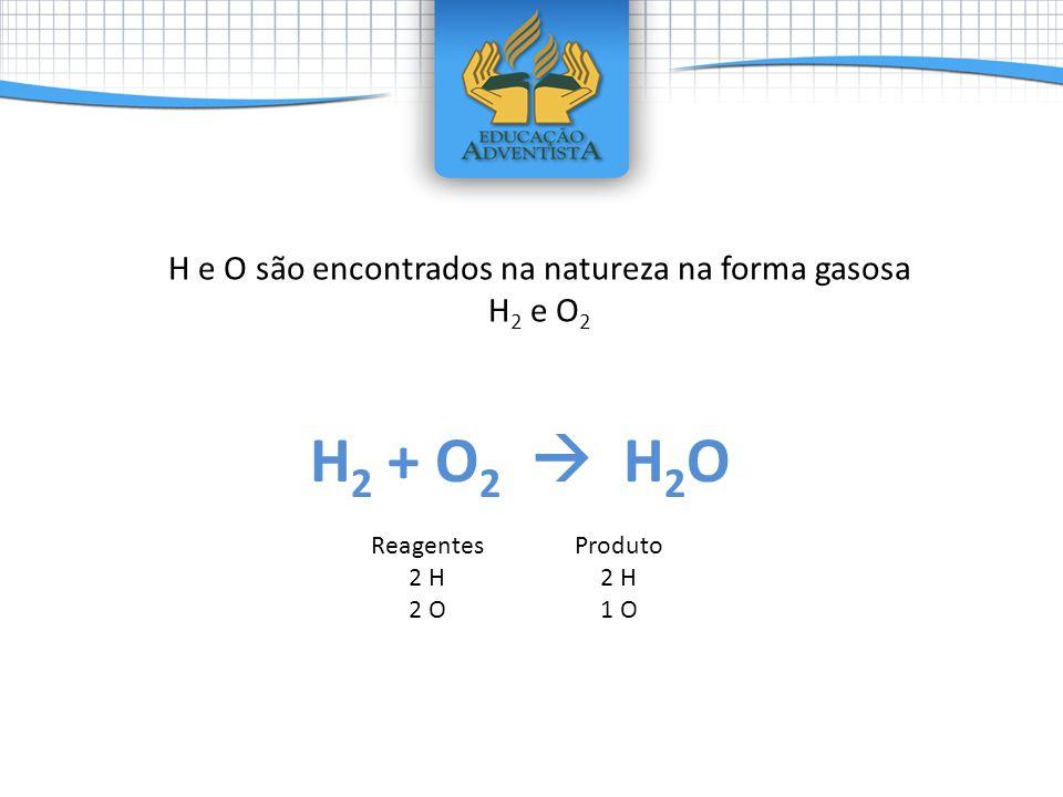 H 2 + O 2 H 2 O Reagentes 2 H 2 O Produto 2 H 1 O H e O são encontrados na natureza na forma gasosa H 2 e O 2