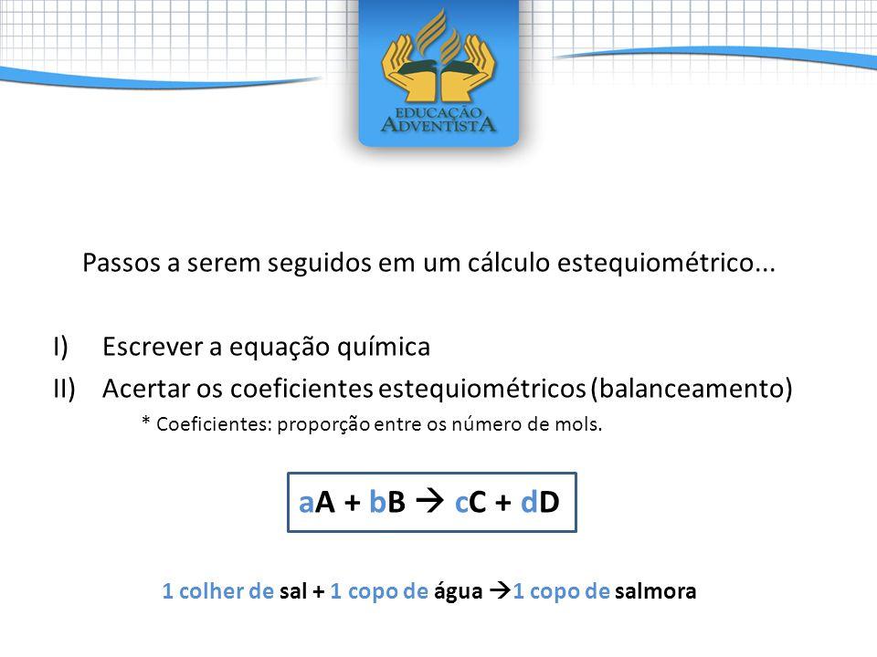 Passos a serem seguidos em um cálculo estequiométrico... I)Escrever a equação química II)Acertar os coeficientes estequiométricos (balanceamento) * Co