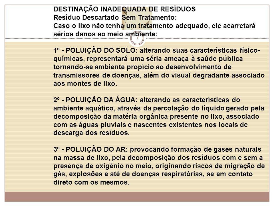 7 DESTINAÇÃO INADEQUADA DE RESÍDUOS Resíduo Descartado Sem Tratamento: Caso o lixo não tenha um tratamento adequado, ele acarretará sérios danos ao meio ambiente: 1º - POLUIÇÃO DO SOLO: alterando suas características físico- químicas, representará uma séria ameaça à saúde pública tornando-se ambiente propício ao desenvolvimento de transmissores de doenças, além do visual degradante associado aos montes de lixo.