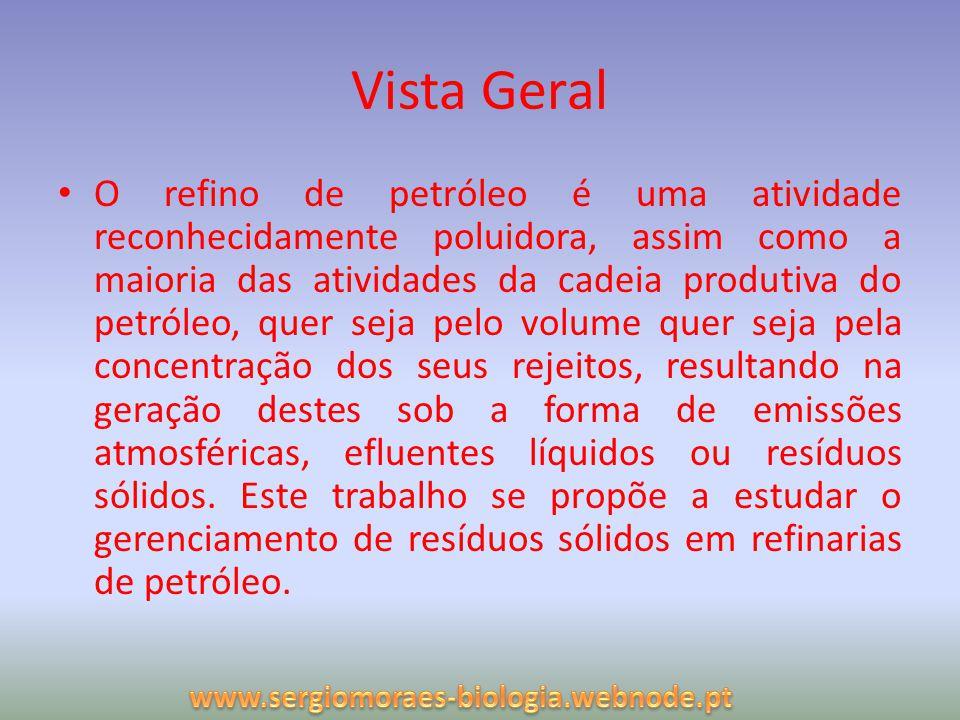 Vista Geral O refino de petróleo é uma atividade reconhecidamente poluidora, assim como a maioria das atividades da cadeia produtiva do petróleo, quer