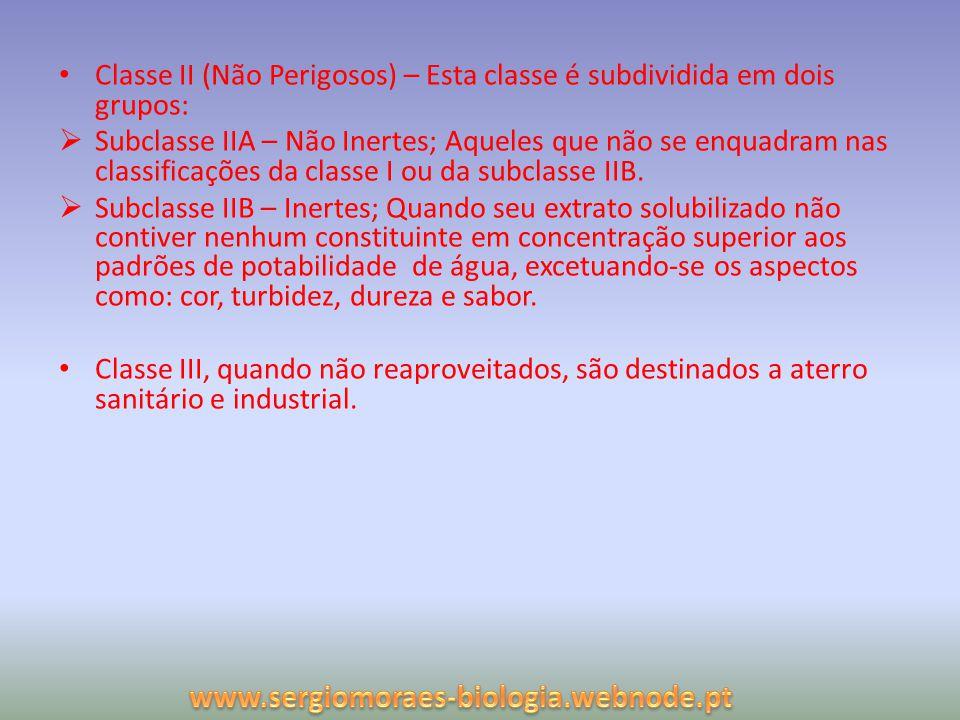Classe II (Não Perigosos) – Esta classe é subdividida em dois grupos: Subclasse IIA – Não Inertes; Aqueles que não se enquadram nas classificações da