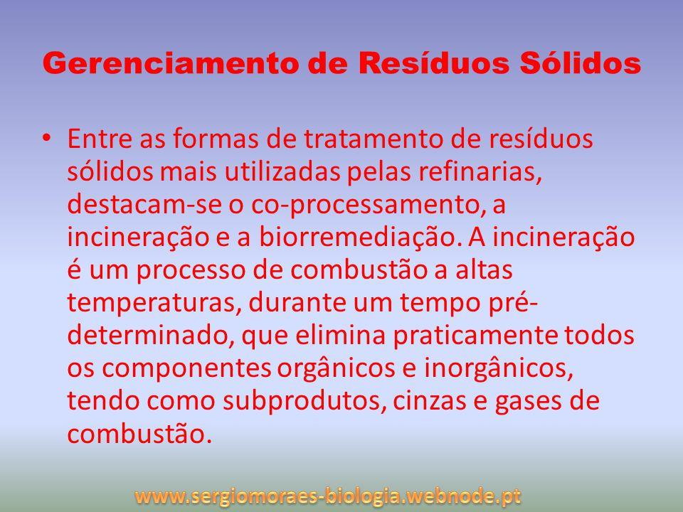 Gerenciamento de Resíduos Sólidos Entre as formas de tratamento de resíduos sólidos mais utilizadas pelas refinarias, destacam-se o co-processamento,