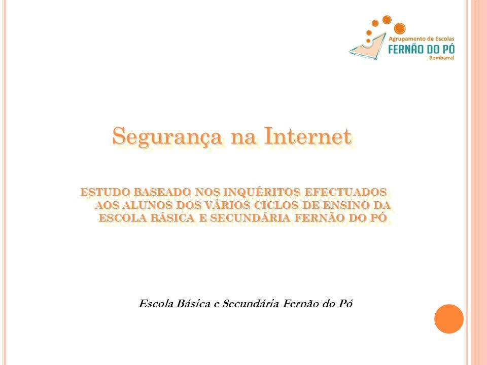 Segurança na Internet Segurança na Internet ESTUDO BASEADO NOS INQUÉRITOS EFECTUADOS AOS ALUNOS DOS VÁRIOS CICLOS DE ENSINO DA ESCOLA BÁSICA E SECUNDÁRIA FERNÃO DO PÓ Escola Básica e Secundária Fernão do Pó