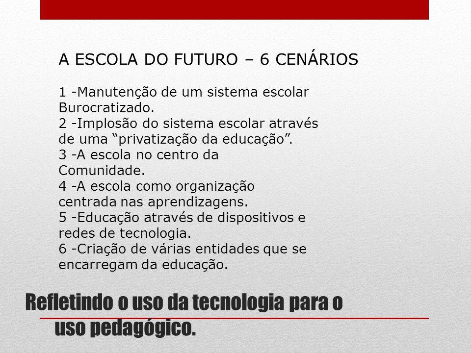 Refletindo o uso da tecnologia para o uso pedagógico. A ESCOLA DO FUTURO – 6 CENÁRIOS 1 -Manutenção de um sistema escolar Burocratizado. 2 -Implosão d