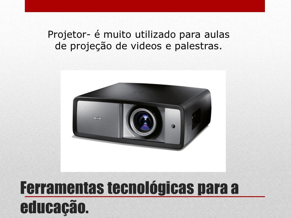 Ferramentas tecnológicas para a educação. Projetor- é muito utilizado para aulas de projeção de videos e palestras.
