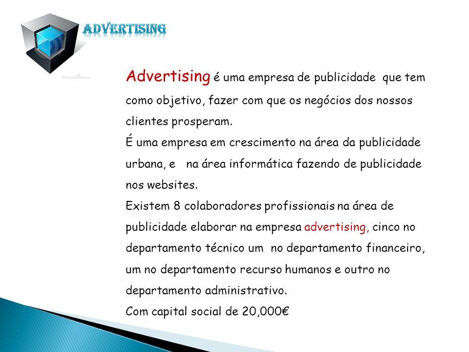 Advertising é uma empresa de publicidade que tem como objetivo, fazer com que os negócios dos nossos clientes prosperam. É uma empresa em crescimento