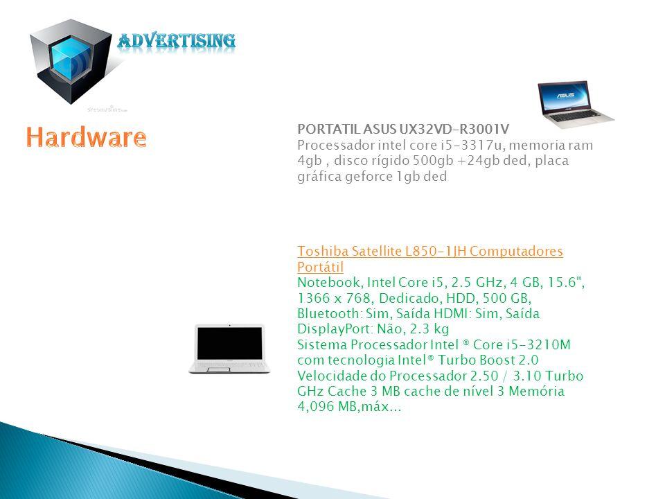 PORTATIL ASUS UX32VD-R3001V Processador intel core i5-3317u, memoria ram 4gb, disco rígido 500gb +24gb ded, placa gráfica geforce 1gb ded Toshiba Sate