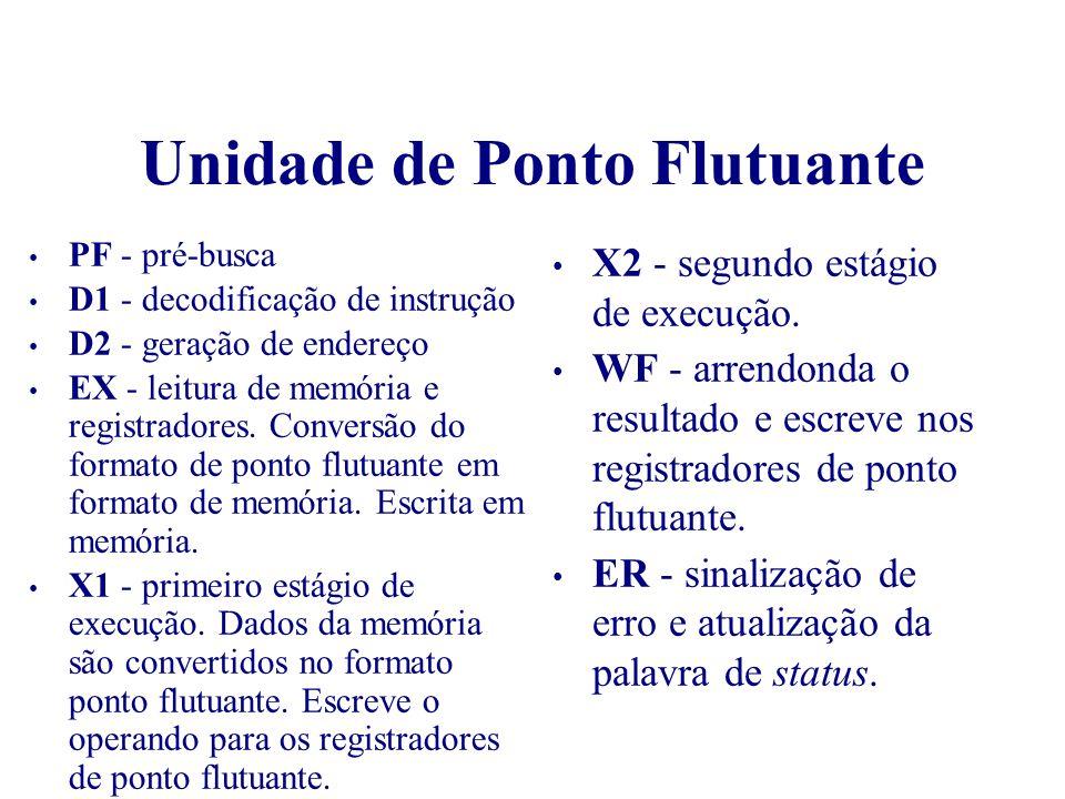 Unidade de Ponto Flutuante PF - pré-busca D1 - decodificação de instrução D2 - geração de endereço EX - leitura de memória e registradores. Conversão