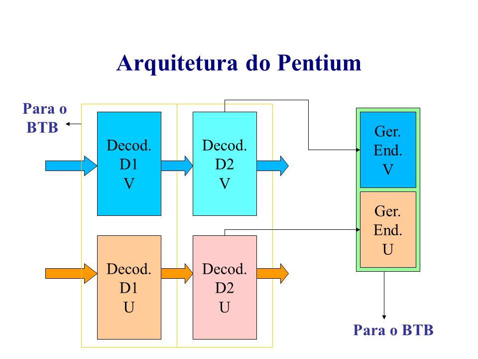 Decod. D2 V Decod. D2 U Arquitetura do Pentium Decod. D1 V Decod. D1 U Ger. End. V Ger. End. U Para o BTB Para o BTB