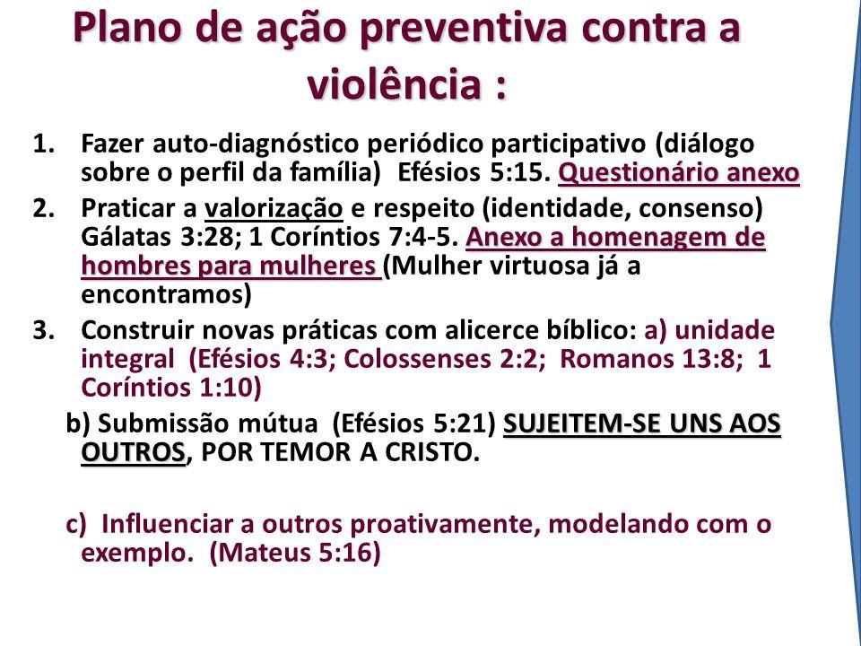 Plano de ação preventiva contra a violência : Questionário anexo 1.Fazer auto-diagnóstico periódico participativo (diálogo sobre o perfil da família)