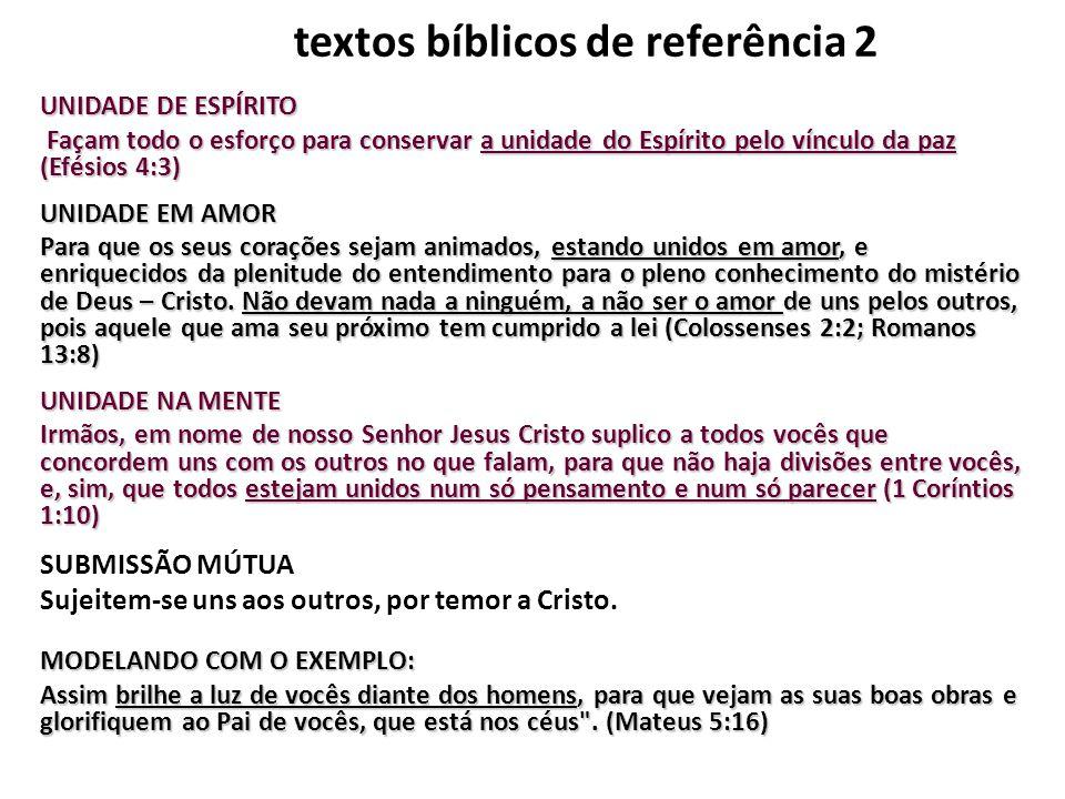 textos bíblicos de referência 2 UNIDADE DE ESPÍRITO Façam todo o esforço para conservar a unidade do Espírito pelo vínculo da paz (Efésios 4:3) UNIDAD