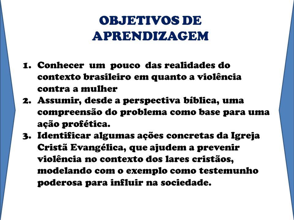 1.Conhecer um pouco das realidades do contexto brasileiro em quanto a violência contra a mulher 2.Assumir, desde a perspectiva bíblica, uma compreensã