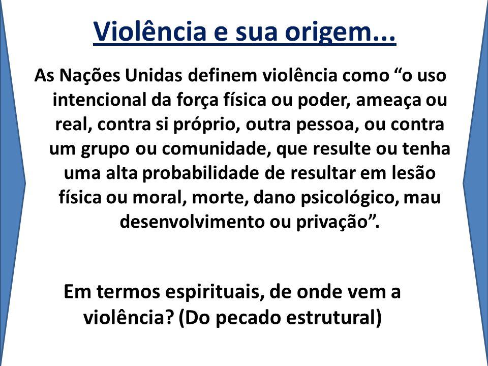 Violência e sua origem... As Nações Unidas definem violência como o uso intencional da força física ou poder, ameaça ou real, contra si próprio, outra