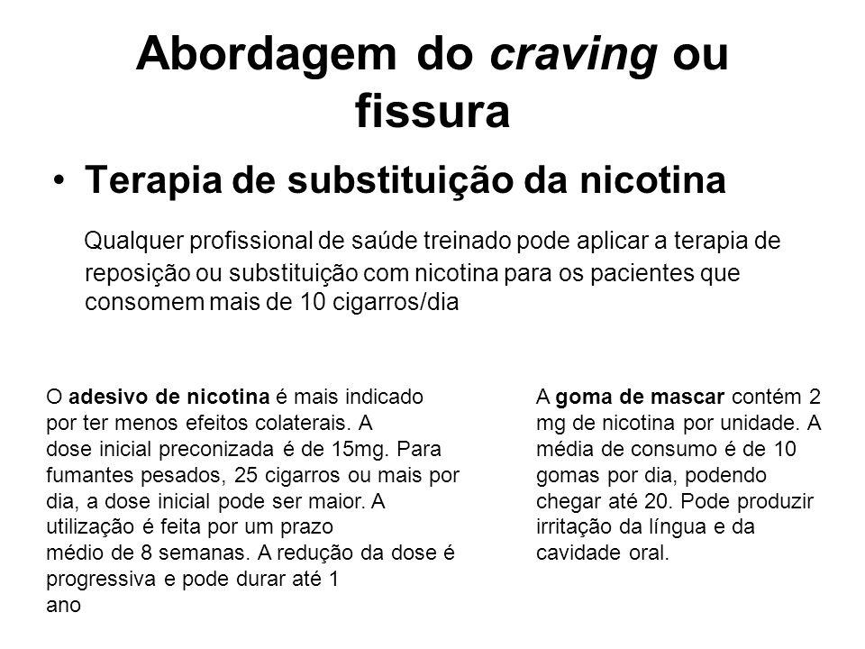 Abordagem do craving ou fissura Terapia de substituição da nicotina Qualquer profissional de saúde treinado pode aplicar a terapia de reposição ou sub
