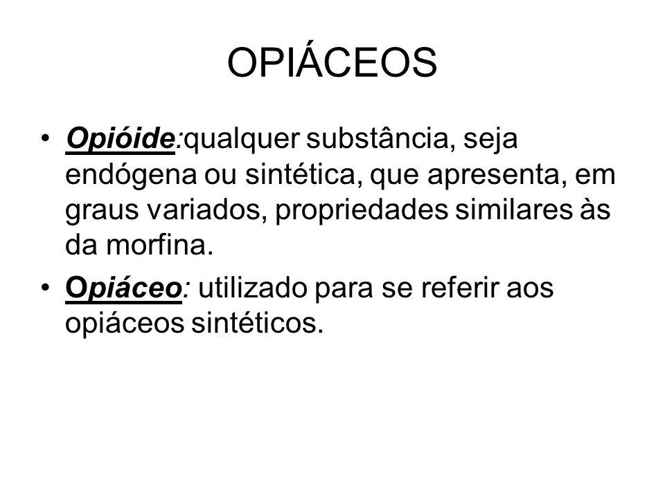 OPIÁCEOS Opióide:qualquer substância, seja endógena ou sintética, que apresenta, em graus variados, propriedades similares às da morfina. Opiáceo: uti