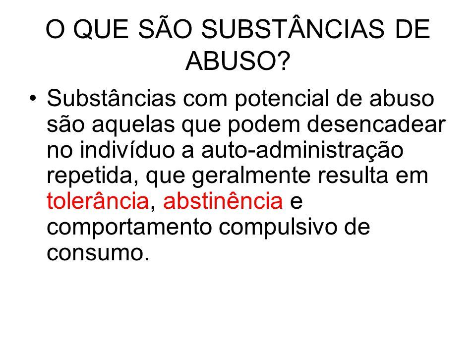 O QUE SÃO SUBSTÂNCIAS DE ABUSO? Substâncias com potencial de abuso são aquelas que podem desencadear no indivíduo a auto-administração repetida, que g