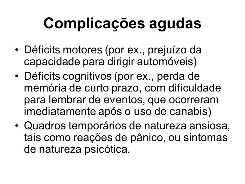 Complicações agudas Déficits motores (por ex., prejuízo da capacidade para dirigir automóveis) Déficits cognitivos (por ex., perda de memória de curto