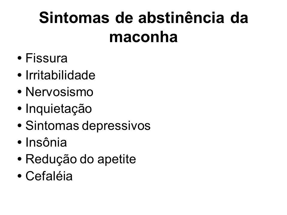 Sintomas de abstinência da maconha Fissura Irritabilidade Nervosismo Inquietação Sintomas depressivos Insônia Redução do apetite Cefaléia