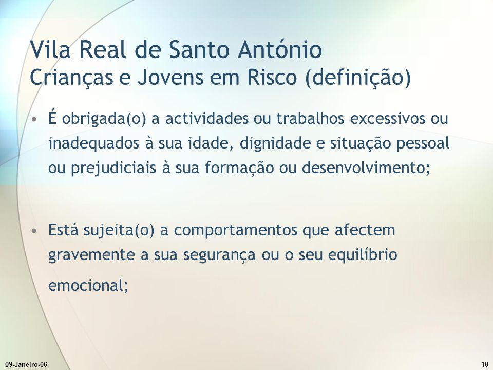 09-Janeiro-0610 Vila Real de Santo António Crianças e Jovens em Risco (definição) É obrigada(o) a actividades ou trabalhos excessivos ou inadequados à