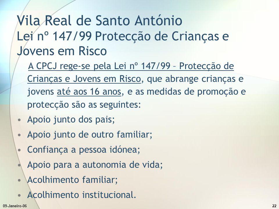 09-Janeiro-0622 Vila Real de Santo António Lei nº 147/99 Protecção de Crianças e Jovens em Risco A CPCJ rege-se pela Lei nº 147/99 – Protecção de Cria